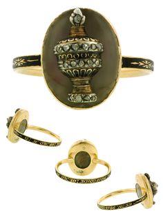 Mourning Ring, gold, diamond & black enamel urn, with locket back containing a lock of hair. Circa 1756