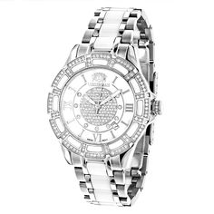 LUXURMAN Ladies Diamond Ceramic Watch 1.25ct White MOP Galaxy ** Review more details here (This is an amazon affiliate link. I may earn commission from it)
