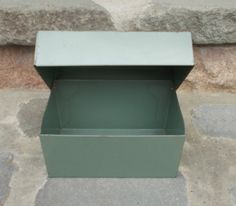 Vintage Metal Recipe File Box Green Price Includes US Shipping via Etsy.