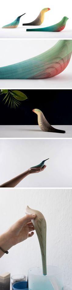 Elegant Wooden Birds Dipped in Watercolor Plumage by Moisés Hernández