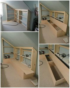 adding a bench to the built-in bookcases in the upstairs hall--