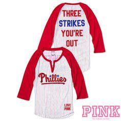 Philadelphia Phillies Victorias Secret PINK® Raglan Henley Baseball Tee - MLB.com Shop