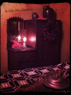 Antique armoire I redid and added to my bed chamber/ bedroom. By: Ye Olde Crow Primitives