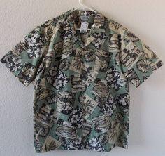 11a754057 NWT Royal Creations Hawaii Aloha Shirt Hula girl Tiki Hut flowers Green  leaves L #RoyalCreations