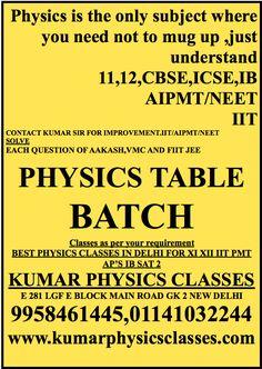 PHYSICS XI,XII CBSE TABLE BATCH study beyond CBSE Physics 11,12,NEET,IIT PHYSICS Solve all Aakash/Vmc/Fiitjee package with full confidence Classes as per your requirement BEST PHYSICS CLASSES IN DELHI FOR XI XII IIT PMT AP'S IB SAT 2  KUMAR PHYSICS CLASSES E 281 LGF E BLOCK MAIN ROAD GK 2 NEW DELHI 9958461445,01141032244 www.kumarphysicsclasses.com