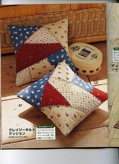 Crazy quilt pillows, a simple idea to use up fabric scraps