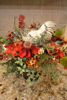 Cream Spotted Rooster Arrangement by kristenscreations on Etsy