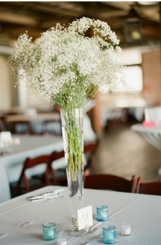Option for tall centerpiece. Baby's breath centerpiece