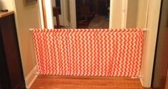 My daughter's creation. DIY Baby Gate for extra wide areas. 2 shower curtain rods with rod pockets sewn into fabric of your choice. To buy $100+, her cost $25. Great idea!