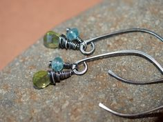 Peridot and Apatite Earrings