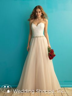 A romantic and feminine strapless bridal gown.