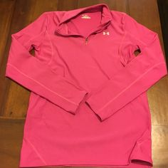 """⚡️SALE!⚡️ Under Armour top Long sleeved zip-up hot pink dry-fit """"coldgear"""" Under Armour workout top. Wore this on a few bike rides and hikes. Super comfy and in great condition. Under Armour Tops Tees - Long Sleeve"""