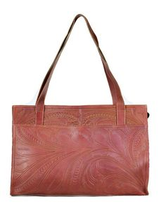 Leaders In Leather Classic Tooled E/W Tote
