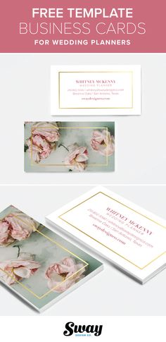 Free printable pink floral and gold business card template for wedding and event planners from Sway Design Co.   http://www.swaydesignco.com