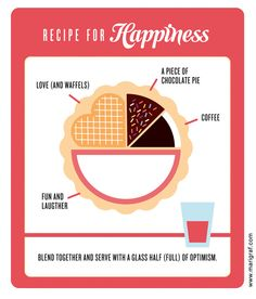 In the real world, work would be some percentage right? haha...if happiness was only this easy... // Recipe for happiness by Mari Grafsrønningen, via Behance