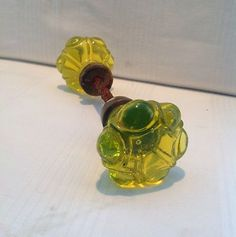 Antique Rare Uranium Vaseline Depression Glass Door Knobs | eBay