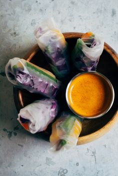 Rainbow Spring Rolls w/ Spicy Sesame Sauce | Well and Full | #vegan #recipe