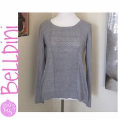 ❄️Belldini Beautiful Gray Knit Sweater NWOT ❄️Beautiful light gray-knit,  high-low sweater NWOT only tried on. Size medium but I'm large now and still fits. Has stretch to it as well. Gray knit all over, beautiful front and back have it done in a more see through pattern. Stunning sweater for the holidays. Priced to sell❄️ note: tag came oddly faded in the lettering. Or maybe that's how they roll. Idk Belldini Sweaters Crew & Scoop Necks
