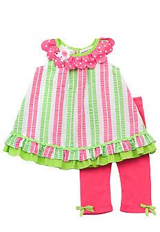 Love these colors together! Rare Editions Stripe Seersucker Capri Set Toddler Girls