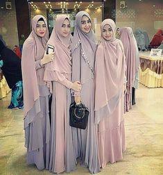 Image may contain: 4 people, people standing Abaya Fashion, Fashion Wear, Fashion Outfits, Womens Fashion, Muslim Wedding Dresses, Muslim Dress, Hijab Gown, Moslem Fashion, Muslim Beauty