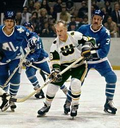 Gordie Howe and the New England Whalers vs. the Quebec Nordiques.