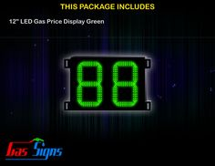 12 Inch 88 LED Gas Price Display Green with housing dimension H400mm x W504mm x D55mmand format 88 comes with complete set of Control Box, Power Cable, Signal Cable & 2 RF Remote Controls (Free remote controls).