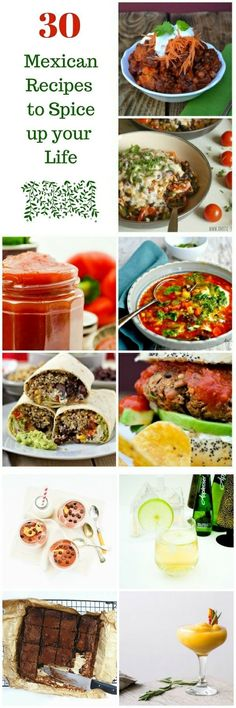 30 Mexican recipes to spice up your life. All easy to make and suitable for vegetarian, dairy-free and vegan diets. Wraps, quesdaillas, soup, burgers, burritos, enchiladas, chilli, chocolate mousse and cocktails.