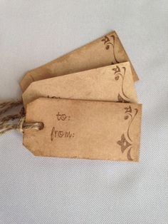 Hand Stamped  Gift Tags- Set of 10 Aged Tags on Etsy, $8.50