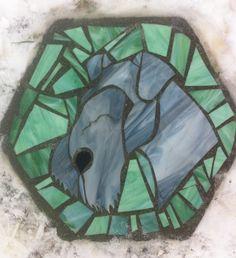 Kerry Blue Terrier - garden stepping stone