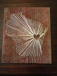 Wisconsin String Art - Reclaimed Barn Wood State Sign - $40