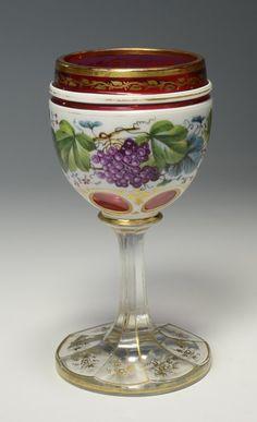 Bohemian overlay wine goblet, late 1800's