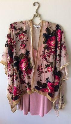 Image of Just In  Owner loves!!!!!Devare cut Paris boudoir velvet antique roses kimono