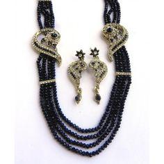 Black Color Four Line Crystal Necklace Set  4