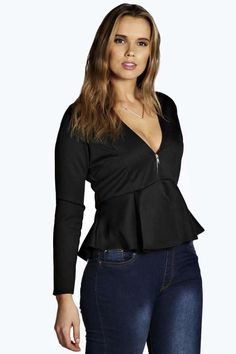 Plus Size Zip Front Peplum Top (up to size 20)