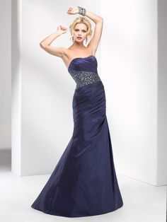 Fit & Flare Strapless Pleated Bodice Beaded Accent Taffeta Prom Dress-sop0066, $219.95