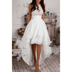 Sleeveless High Low White Prom Dress ($99) ❤ liked on Polyvore featuring dresses, mullet dress, short front long back dress, hi low dress, white sleeveless dress and white prom dresses