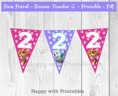 Paw Patrol Banner Number 2 - Paw Patrol Banner For Girls - Banner Number 2 - Paw Patrol Party - Paw Patrol Birthday decoration Pink - Purple door HappywithPrintables op Etsy