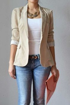 White blouse, jeans, and fitted taupe blazer courtesy of Big Al. Chapter 9.