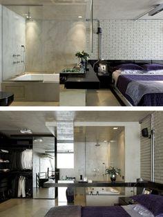 O cimento queimado não é só usado na bancada. Neste loft, reformado pelo arquiteto Diego Revollo, ele foi usado ao redor da banheira (além d...