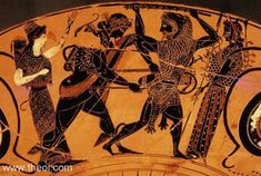 Heracles & Apollo struggling over the Delphic tripod, with Athena & Artemis | Greek vase, Athenian black figure kylix