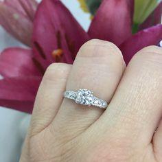 14k white gold vintage diamond ring from my Etsy shop https://www.etsy.com/listing/488139501/14k-white-gold-vintage-12ct-diamond-ring