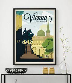 Cartel Vintage Viena Viaje Ciudades Europa por GraphicHomeDesign