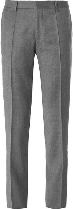 Hugo Boss Grey Slim Fit Virgin Wool Flannel Trousers. Buy for $195 at MR PORTER. Mens Jogger Pants, Men Trousers, Mens Dress Pants, Slim Fit Trousers, Formal Trousers For Men, Morning Dress, Mr Porter, Fashion Moda, Wool Pants