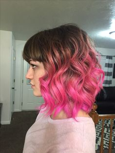 Pink hair, ombré, rose gold to hot pink.