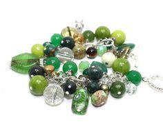 Gorgeous Pantone Greens:  Jade, Agates, Quartz, Jasper, Pearls and Crystals ChaCha Charms Bracelet | AyaDesigns - Jewelry on ArtFire