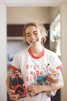 Happy snacking in by // portrait // girl // photography