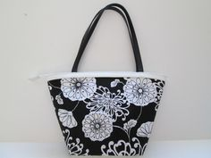 Black and White Beaded Purse Bucket Style Floral Handbag Double Handle  $19.95  at MrsDinkerson's