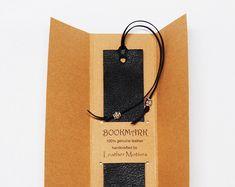 Black Leather Bookmark Silver Beads Gift for Him Her Boyfriend Reader Teacher Professor Friend Student Graduation Personalized Add Initials