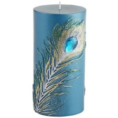 Peacock Feather Pillar for DIY inspiration. Silk around flameless candle w feather spray.
