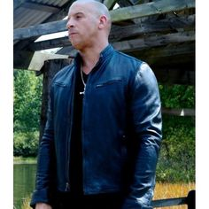 Fast and  Furious 7 Vin diesel Blue Leather Jacket Coat for Men's